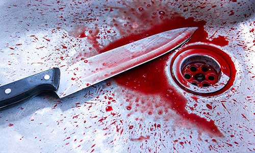 An Image of knife with blood in a sink
