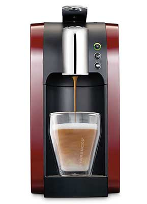 An image of Starbucks Coffee Maker Verismo 580 in Burgundy Red Color