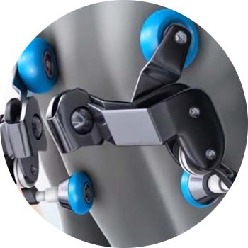 Quad rollers are designed to mimic the wrist movements of a massage therapist