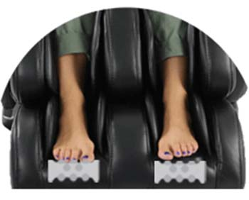 An image of Ogawa Active Supertrac massage chair showing foot rollers