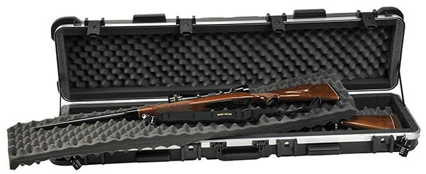 An Open Up Case with Rifle of SKB ATA Double Rifle Case