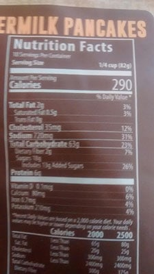 An Image of Nutrition Facts: Buttermilk Pancakes