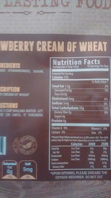 An Image of Nutrition Facts: Cream of Evil