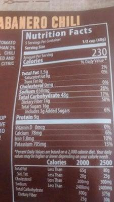 An Image of Nutrition Facts: Mango Habanero Chili