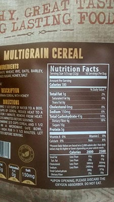 An Image of Nutrition Facts: Multigrain Cereal