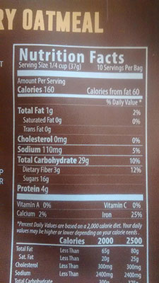 An Image of Nutrition Facts: Strawberry Oatmeal