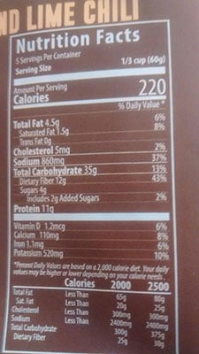 An Image of Nutrition Facts: White Bean and Lime Chili