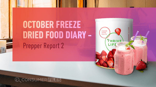 Thrive Life Freeze Dried Strawberries Container and Two Mugs of Strawberry Milkshake