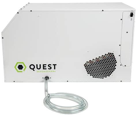 Side View, Quest Dual 105 Overhead Dehumidifier, White Color