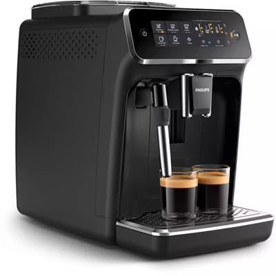 Philips Espresso Machine 3200 Right Side With Two Shots of Espresso