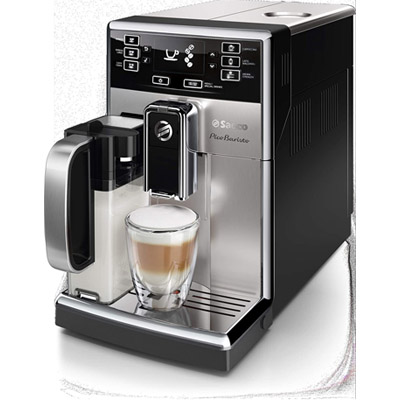 Saeco Picobaristo Fully Automatic Stainless Steel Espresso Machine With Milk Carafe Upper Side