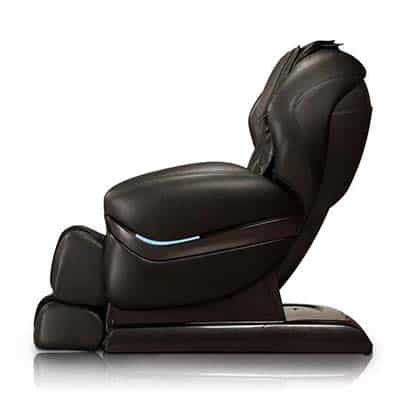Black massage chair in upright position