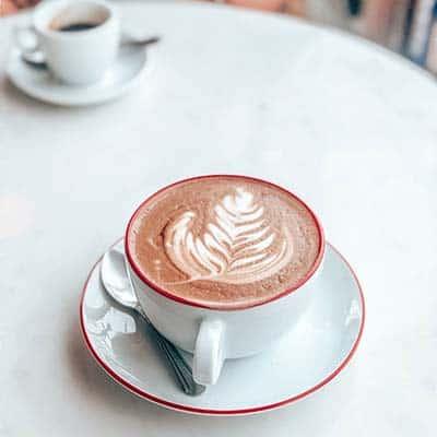 Mocha Coffee Cup with leaf latte art