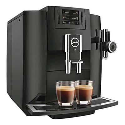 Jura Impressa E8 Espresso Machine with two espresso shots