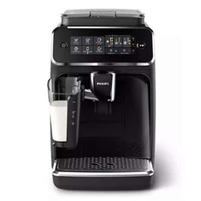 Philips 3200 Lattego Automatic Espresso Machine Front View With A Glass of Milk