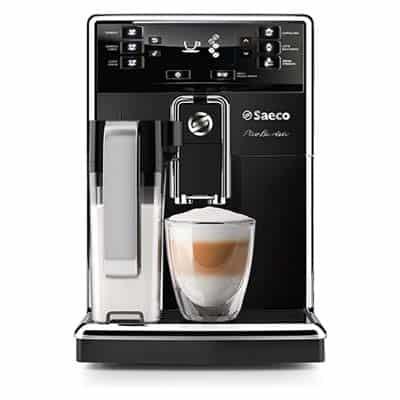 Saeco Picobaristo Carafe Super-automatic Espresso Machine Front with Cup Black