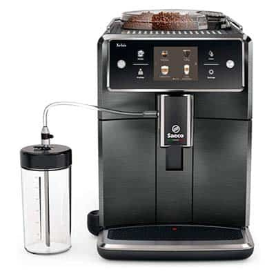 Saeco Xelsis SM7684 Espresso Machine Front With Glass